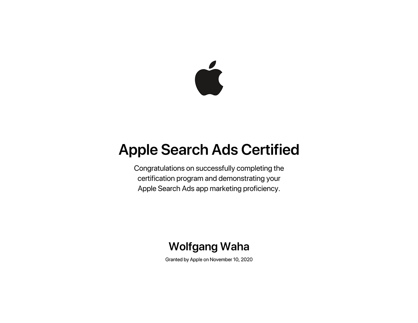 Wolfgang Waha - Apple Search Ads Certified
